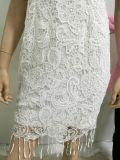 De lacet de 2017 modèle sans manche de robe élégante du plus défunt femmes de robe de vente en gros rapiéçage blanc occasionnel de maille