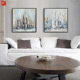 De peinture à l'huile de la ville haute amortie de paysage urbain pour le décor à la maison