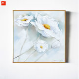 2 van het Witte stukken Olieverfschilderij van de Bloem Met de hand gemaakte op Canvas