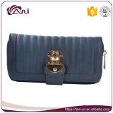 札入れRFID、青および灰色カラーPUの革女性の財布の卸売