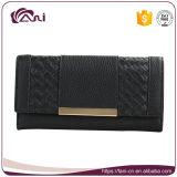 Bolso hecho a mano de cuero del dinero de la PU del color negro para las señoras