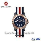 Wristband-Nylonmann-Kleid-Uhr-kleine PoliergoldEdelstahl-Uhr