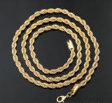 Цепь веревочки нержавеющей стали плакировкой золота для ожерелья и браслета способа