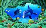 Couleur découpant la tuile de mur de porcelaine du monde de l'océan 3D (VPA6A111)