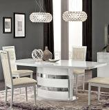 Tabela de jantar superior do mármore de aço branco luxuoso moderno da cópia (NK-DT228-2)