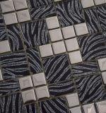 Il mosaico di vetro nero con bianco venato il metallo Mixed per la decorazione domestica