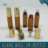 kosmetische Öl-Glasflaschen-Rollen-Kugel des hellbraunen Zylinder-5ml