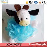 Klb-103シャワーのパフの卸売牛おもちゃの浴室のスポンジのPEの網の浴室の球