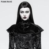 Punkdame-Kostüm-gotisches Kirchhof-Schwarz-Samt-Kap des Party-Y-793