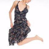 Платье выскальзования пляжа Blackless V-Шеи женщин способа Low-Cut напечатанное цветком