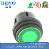 12V interruptor de pulsador momentáneo redondo verde iluminado luz de la C.C. LED