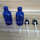bouteille en verre bleue de 60ml Boston avec le pulvérisateur noir et le chapeau clair (EOB-14)