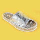 Sandalo piano personalizzato della trasparenza della iuta delle 2017 della punta signore metalliche aperte di EVA sole