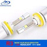Jogo 6000k do farol do carro do diodo emissor de luz do CREE do bulbo de lâmpada 40W do diodo emissor de luz do brilho elevado 4000lm H11 R3