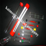 Tubo de plástico de plástico transparente personalizado de los tubos con el casquillo coloreado