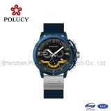 Chnorographの動きが付いているスポーツのシリコーンバンド方法人の腕時計