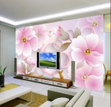 Abitudine qualsiasi carta da parati elegante del fiore della foto del documento di parete del sofà TV di formato