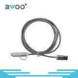 2 en 1 câble de remplissage tressé micro de la foudre USB