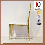 Cadeira da parte traseira redonda de aço inoxidável de couro branco da forma para jantar