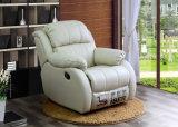 Sofà moderno del Recliner del cuoio genuino del nero della mobilia (HC036)