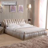 Heißes verkaufendes weiches Bett der Schlafzimmer-Möbel mit seitlichem Tisch (1202#)