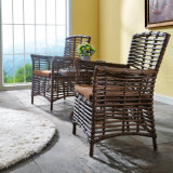4脚の椅子が付いている環境のPEの藤の庭の屋外の家具のダイニングテーブル