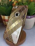 El cedazo cuadrado electrochapa la caja suave del teléfono móvil de la armadura del oro con TPU (XSDD-017)