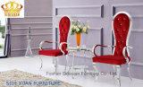 Qualitäts-moderner königlicher roter schwarzer Gewebe-Edelstahl-Wagen-Aufenthaltsraum-Stuhl mit Armlehne