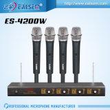 Canaleta do VHF 4 de Ealsem Es-4200W para cantar para o microfone do rádio da conferência