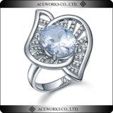 Anillo de la piedra preciosa de la forma de la flor de la hoja de la joyería de la plata esterlina 925