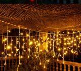 Luz amarela ao ar livre do sincelo do diodo emissor de luz do Natal que Wedding a luz feericamente