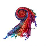 Lenço acrílico do arco-íris étnico de Pashmina do estilo 2016 para mulheres