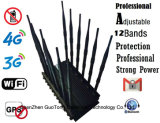 Frecuencia ultraelevada Interphone Signal Jammer 3G 4G G/M CDMA Cell Phone Signal Jammer /Blocker Full Frequency Adjustable12 Antennas del VHF de Jammer GPS WiFi de la señal