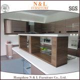 Gabinete de cozinha de madeira do lustro elevado de Morden com tipo Handware de Blum