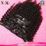 Grampo Curly apertado brasileiro do cabelo humano de Remy da classe do Virgin 6A de 100% no Weave do Ins do grampo das extensões 7PCS/Set 120g do cabelo