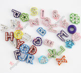 Legierung Metal Colorful Initial Letters Slide Charm Beads für Children Fashion Jewelry (JP08-008)