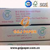 papel de embalaje de la hamburguesa de la pulpa de madera de 22-23GSM el 100% para empaquetar