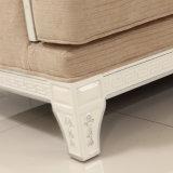 Sofá de canto com tecido e moldura de madeira sólida para Home