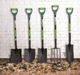 Hulpmiddelen D van de tuin vormden de Gesmede Spade van de Tuin van de Schop van het Staal met het Handvat van de Glasvezel