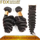 A onda frouxa das extensões naturais humanas malaias novas elegantes do cabelo pode ser tingida