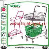 Metallplastikpuder-Beschichtung-Einkaufen-Karren mit Travelator Fußrollen