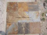 Ardoise rouillée, tuiles, pierre culturelle, mur, étage, tuiles de machine à paver