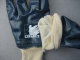 Перчатка работы запястья руки Knit вкладыша Джерси голубого нитрила польностью покрытая
