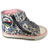 Zapatos de lona mágicos azules del tobillo del precio de fábrica/amarillentos/rosados superiores de la cinta con la cremallera