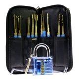 Cadenas transparent bleu avec les outils bleus de Titanized Lockpicking du traitement 24PCS (combo 4)