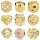 18k banhado a ouro 925 encantos de prata esterlina, Round Bead Charm Fit DIY pulseiras jóias