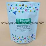 El envasado de alimentos se levanta la bolsa con la cremallera para las tuercas/alimento de los frutos secos/de bocado