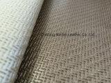 Couro artificial do sofá do PVC do teste padrão do Weave