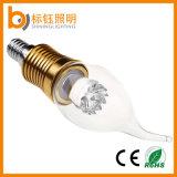 Luz da vela do diodo emissor de luz Dimmable da tampa de vidro E14 com ponta da flama