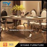 Tabella pranzante di marmo del piedino del metallo della mobilia del ristorante per l'hotel